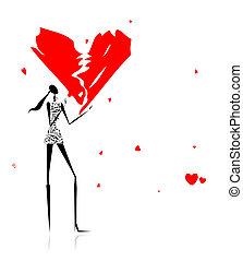 day., gehoorde gebrekenene, meisje, valentijn