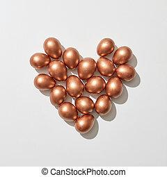 day., gouden, plat, valentine, geverfde, eitjes, space., hart gedaante, grijs, leggen, achtergrond, kopie, straat.
