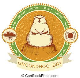 day., groundhog, tekst, etiket, achtergrond, vector