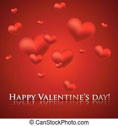 day., heureux, fond, cœurs, vacances, valentine, rouges