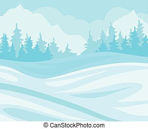 Day In Winter Forest, snowy landscape with fir trees and hills background vector Illustration