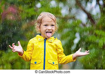 day., jogo, crianças, chuvoso, outono, rain., criança