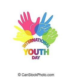 day., jugend, vektor, abbildung, international