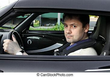 day., kinyitott, vezetés, autó, látszó, faj, ablak., sport, ember