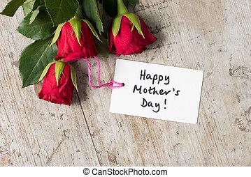 """day!"""", mère, roses, écrit, aérien, """"happy, carte"""