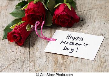 "day!"", mère, salutation, roses, ""happy, carte"