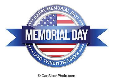 day., memorial, bandeira, nós, selo