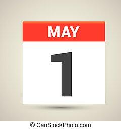 day., może, st, 1, kalendarz, ikona