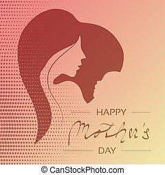 day., mujer, silueta, punteado, madre, texto, saludo, decoración, vector, bebé, heart., feliz, tarjeta, design.