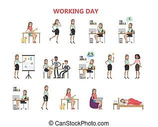 day., mulher, trabalhando