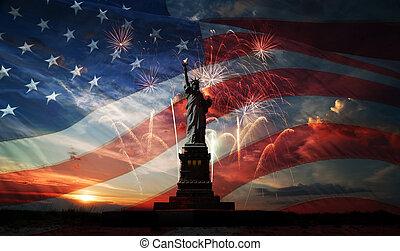 day., mundo, liberdade, esclarecer, independência