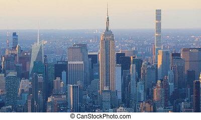 Day night timelapse of downtown Manhattan skyline