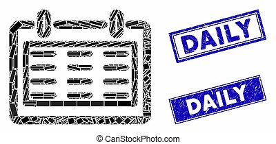 Day Notebook Mosaic and Grunge Rectangle Daily Stamps