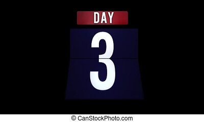 Day number scrolling from 1 to 31 - Day blue number...