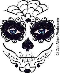 Day of Dead Girl Face - Sugar skull girl face with make up...