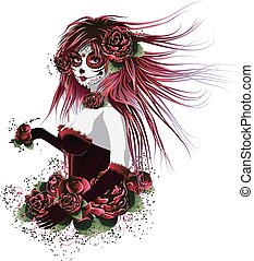 Vintage sugar skull girl with roses for Day of the Dead (Dia de los Muertos).