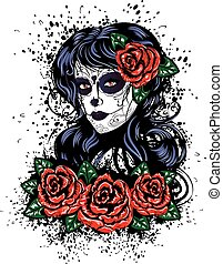 Day of Dead Girl - Vintage sugar skull girl with roses for...