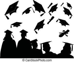 Day of Graduation - Graduates at commencement, with the...