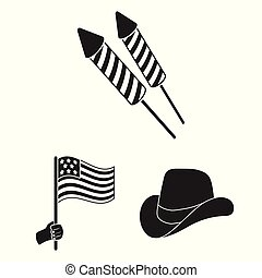 Day of Patriot, holiday black icons in set collection for...