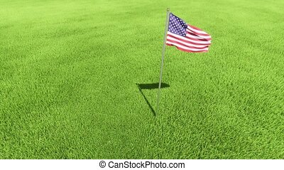 Day of Remembrance.. flag usa lawn grass 4k