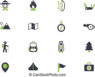 day of scouts simple vector icons in two colors