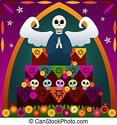 Day of the Dead Altar - Festive skulls and an angel on top...