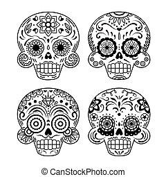 dia de los muertos or day of the dead design template hand sketched
