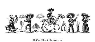 Day of the Dead, Dia de los Muertos. The skeleton in the...