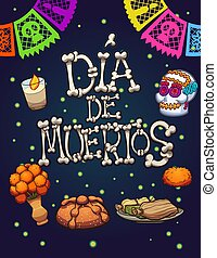 Day of the dead elements. Vector clip art illustration with...