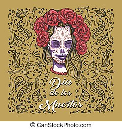 Day of The Dead Emblem. Woman with sugar skull makeup on a floral background