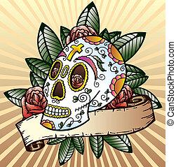 Day of the dead festival skull vector illustration - Day of...