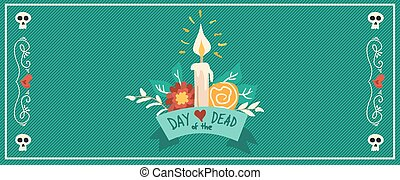 Day of the dead flower hand drawn festive banner