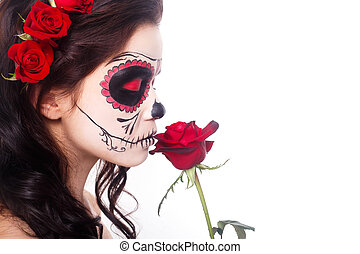 Day of the dead. Halloween. Young woman in day of the dead...