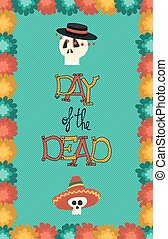 Day of the dead hand drawn mariachi skull poster