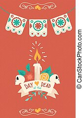 Day of the dead hand drawn sugar skull poster art - Day of...