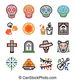 day of the dead festival and celebrate icon set, vector and illustration