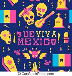 Day of the dead mariachi skull emoji background