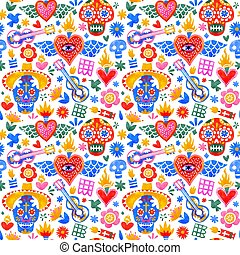 Day of the dead mexican icons seamless pattern - Day of the ...