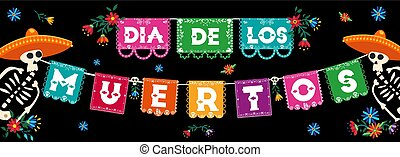 Day of the dead mexican paper flags banner