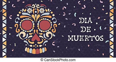 Day of the dead mexican sugar skull web banner
