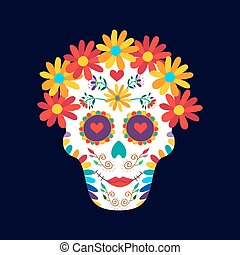 Day of the dead mexico sugar skull decoration art - Day of...