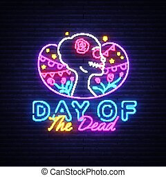 Day of the dead Neon Sign Vector. Dia de los moertos neon banner. Fiesta, holiday poster, party flyer, greeting card. Traditional Mexican Halloween. Vector illustration