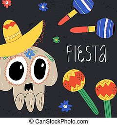 Day of the dead party invitation, banner template with sugar skull in sombrero, maracas and Fiesta hand lettering.