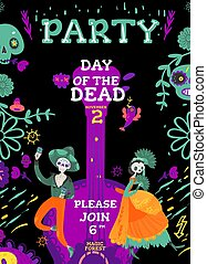 Day of the Dead party invitation with skeletons man and woman vector illustration.