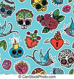 Day of the Dead seamless pattern - Dia de los Muertos or Day...