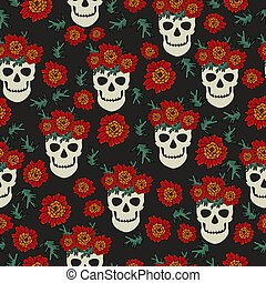 Day of the dead seamless pattern, skull in floral wreath and...