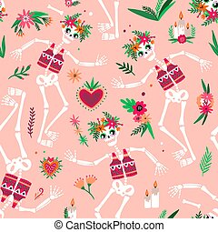Day Of The Dead seamless pattern with funny skeletons dancing and celebrating traditional Mexican holiday. Festive vector illustration in flat cartoon style for fabric print, wallpaper, backdrop.