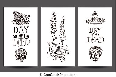 Day of the Dead set of 3 design templates