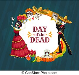 Dancing skeletons of Mexican Day of the Dead holiday vector design with sugar skulls, marigold flowers and Catrina calavera. Halloween festival sombrero, mariachi mustache and flamenco dancer dress