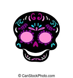Day Of The Dead Skull isolated on white.